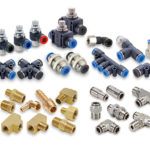 Figure 1. Pneumatic fittings come in a variety of styles and materials with threaded ports or push-to-connect designs to attach pneumatic tubing to valves. All courtesy of AutomationDirect